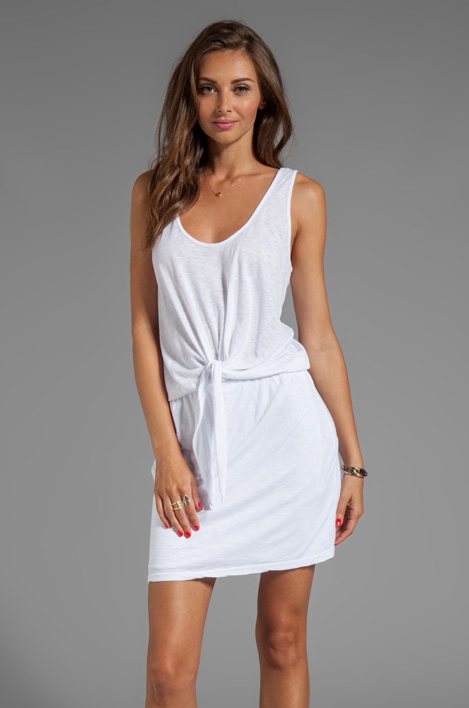 Velvet by Graham & Spencer Zara Luxe Slub Dress in White