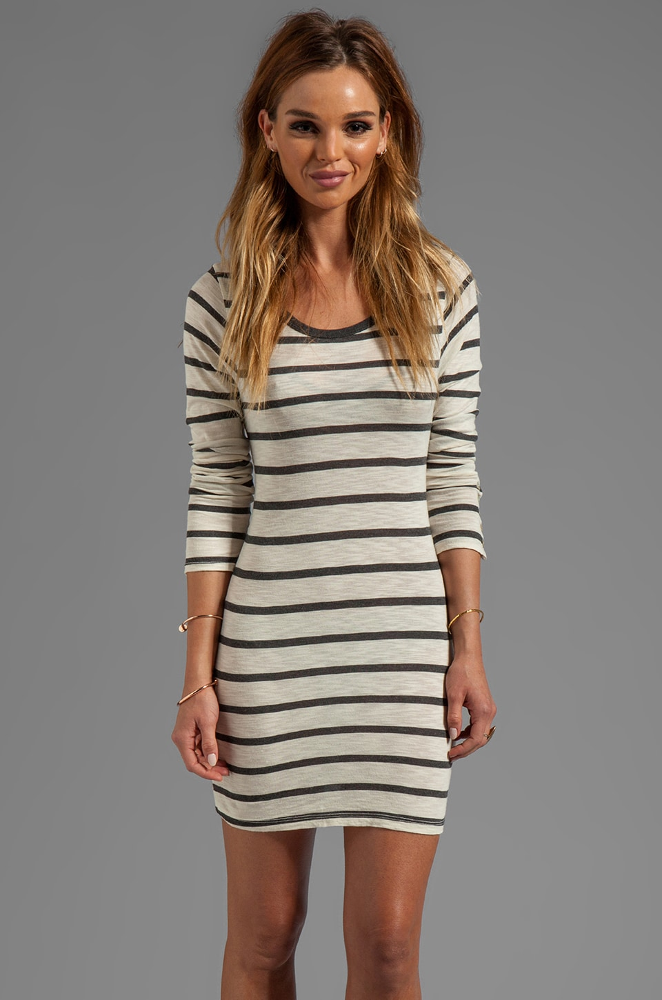 Velvet by Graham & Spencer Fern Charcoal Slub Stripe Long Sleeve Dress in Cream