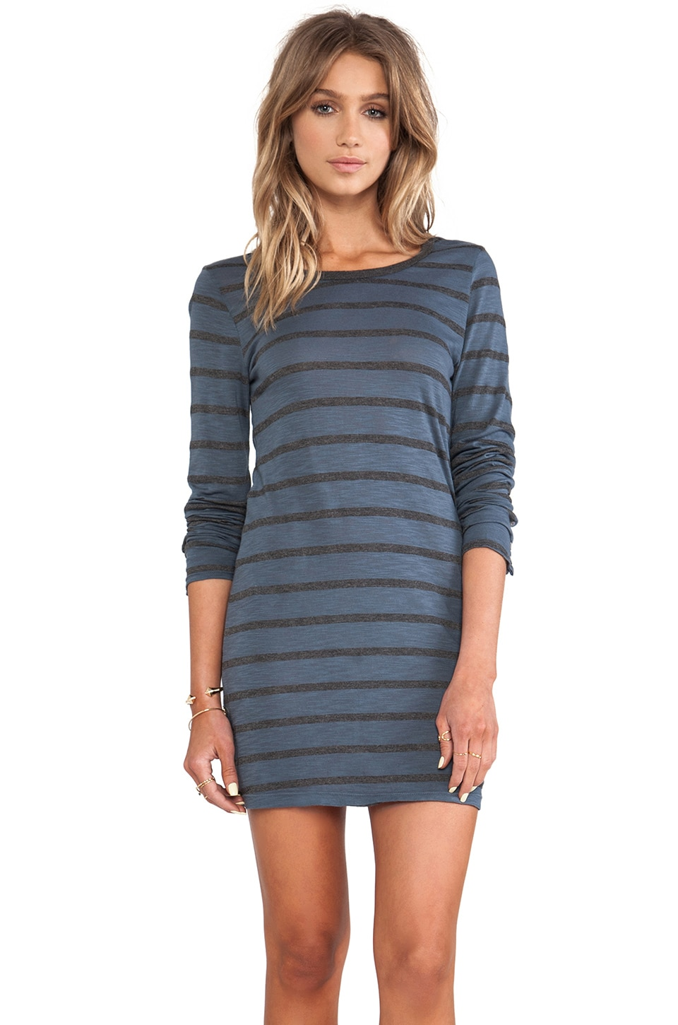 Velvet by Graham & Spencer Fern Charcoal Slub Stripe Long Sleeve Dress in Antwerp