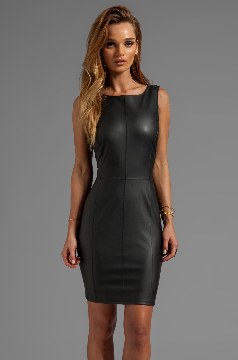 Velvet by Graham & Spencer Marjory Ponti w/ Faux Leather Dress in Black