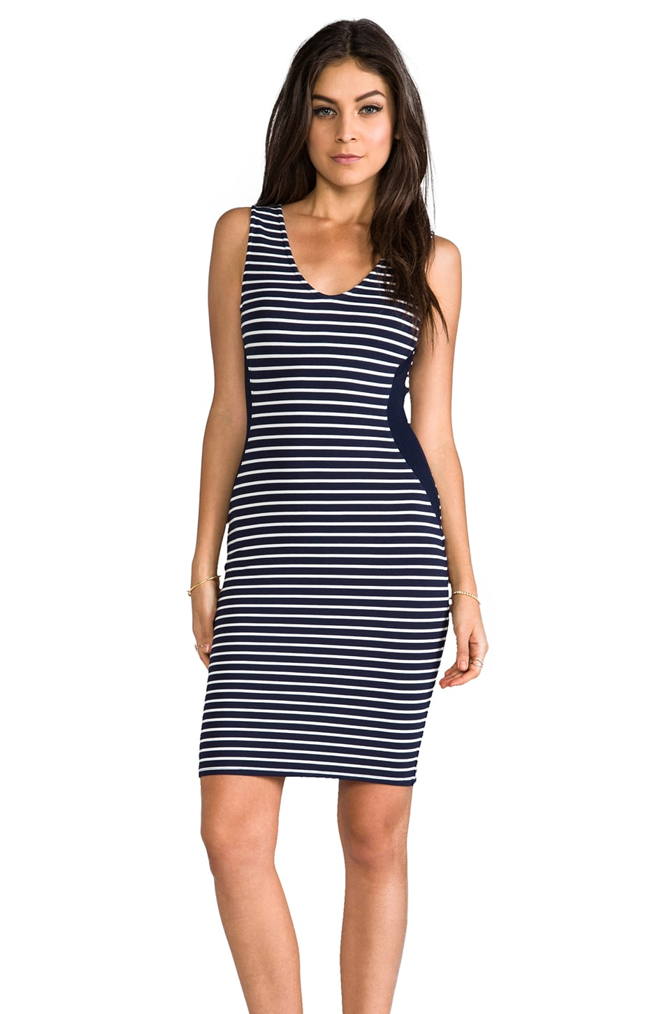 Velvet by Graham & Spencer Velvet Ponti Stripes Milly Dress in Navy