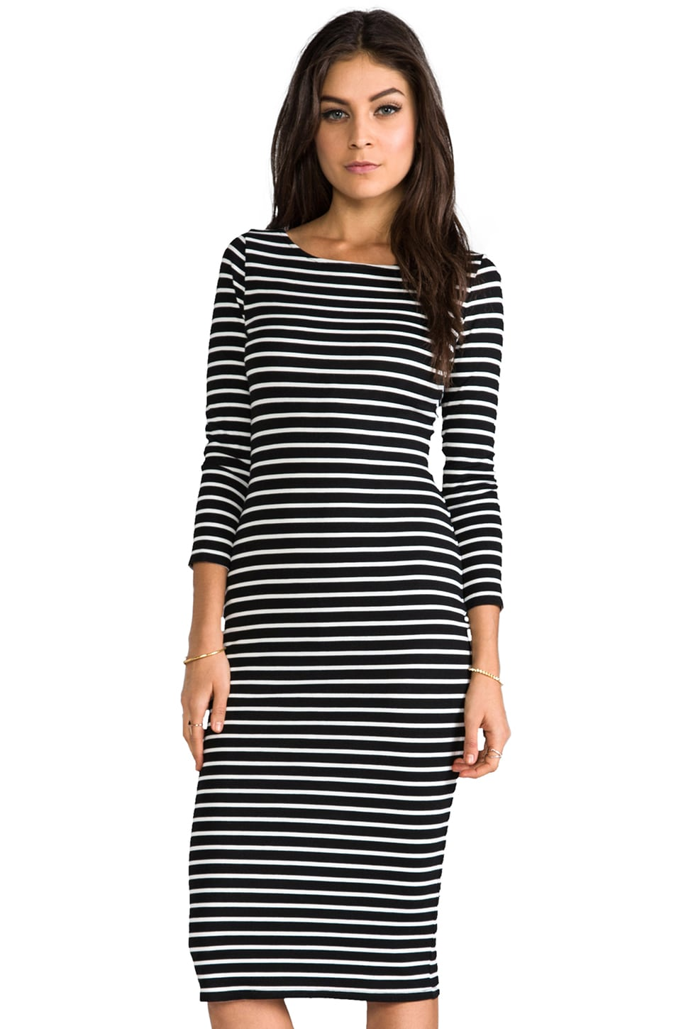Velvet by Graham & Spencer Velvet Ponti Stripes Pandora Dress in Black