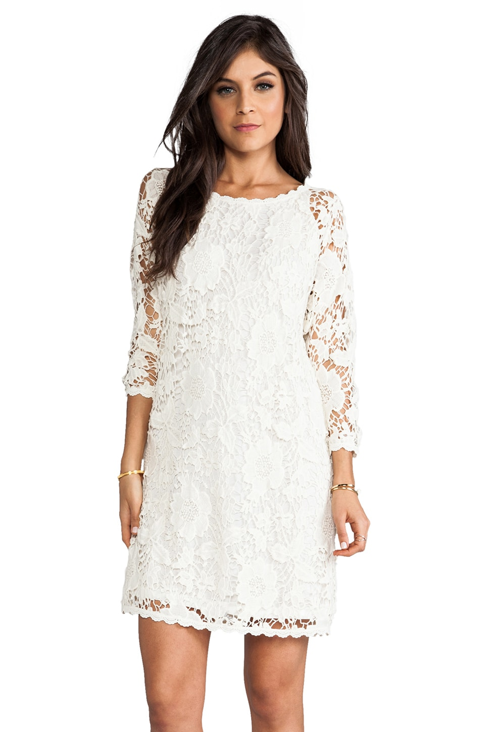 Velvet by Graham & Spencer Leslea Cotton Crochet Dress in Off White