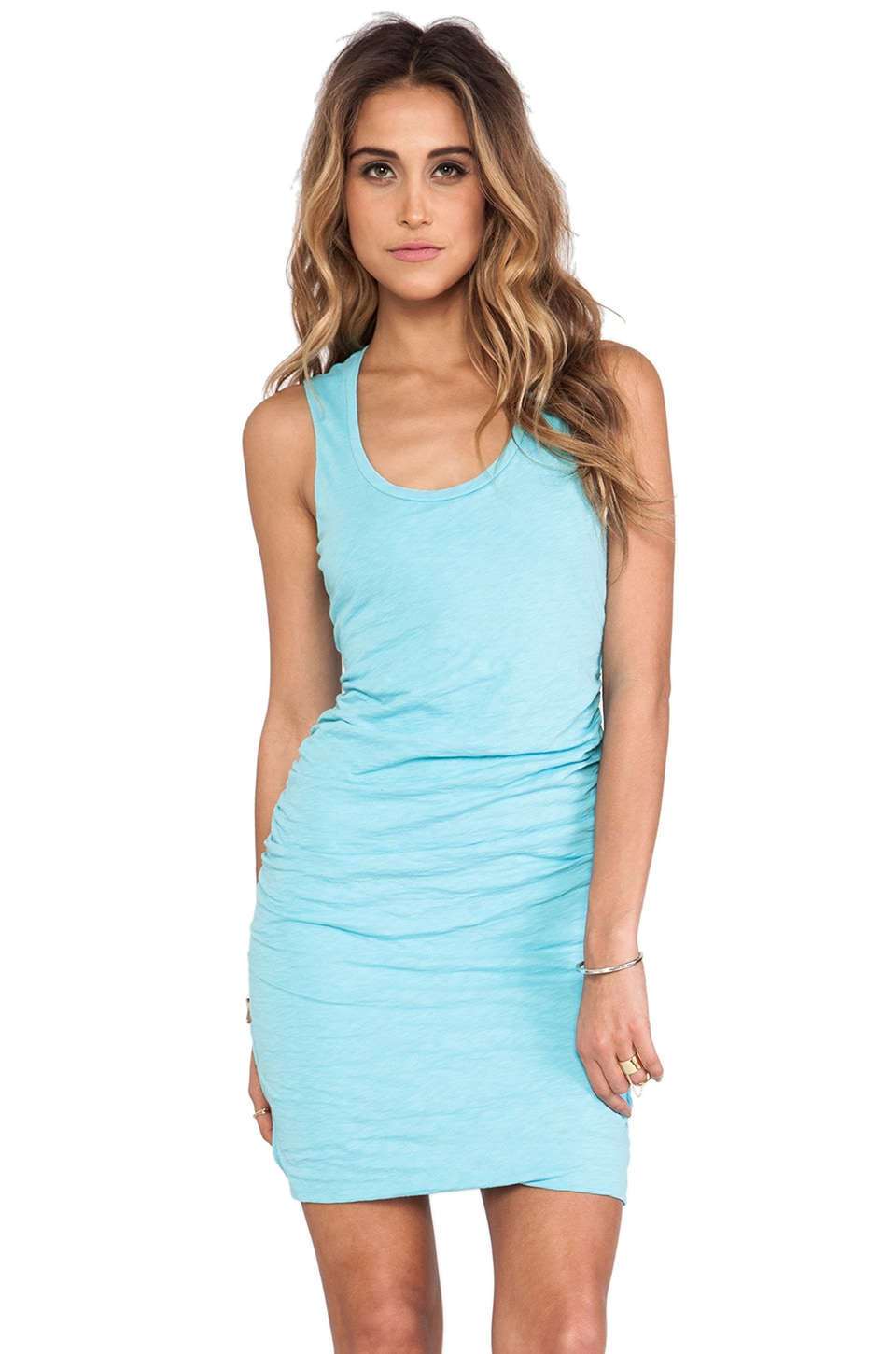 Velvet by Graham & Spencer Danette Cotton Slub Dress in Aqua