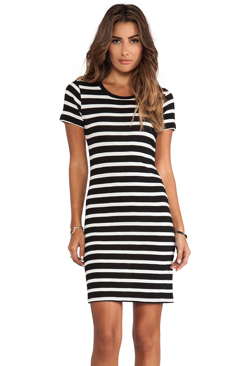 Velvet by Graham & Spencer Lily Aldridge for Velvet Anna Slub Stripe Dress in Black & Cream