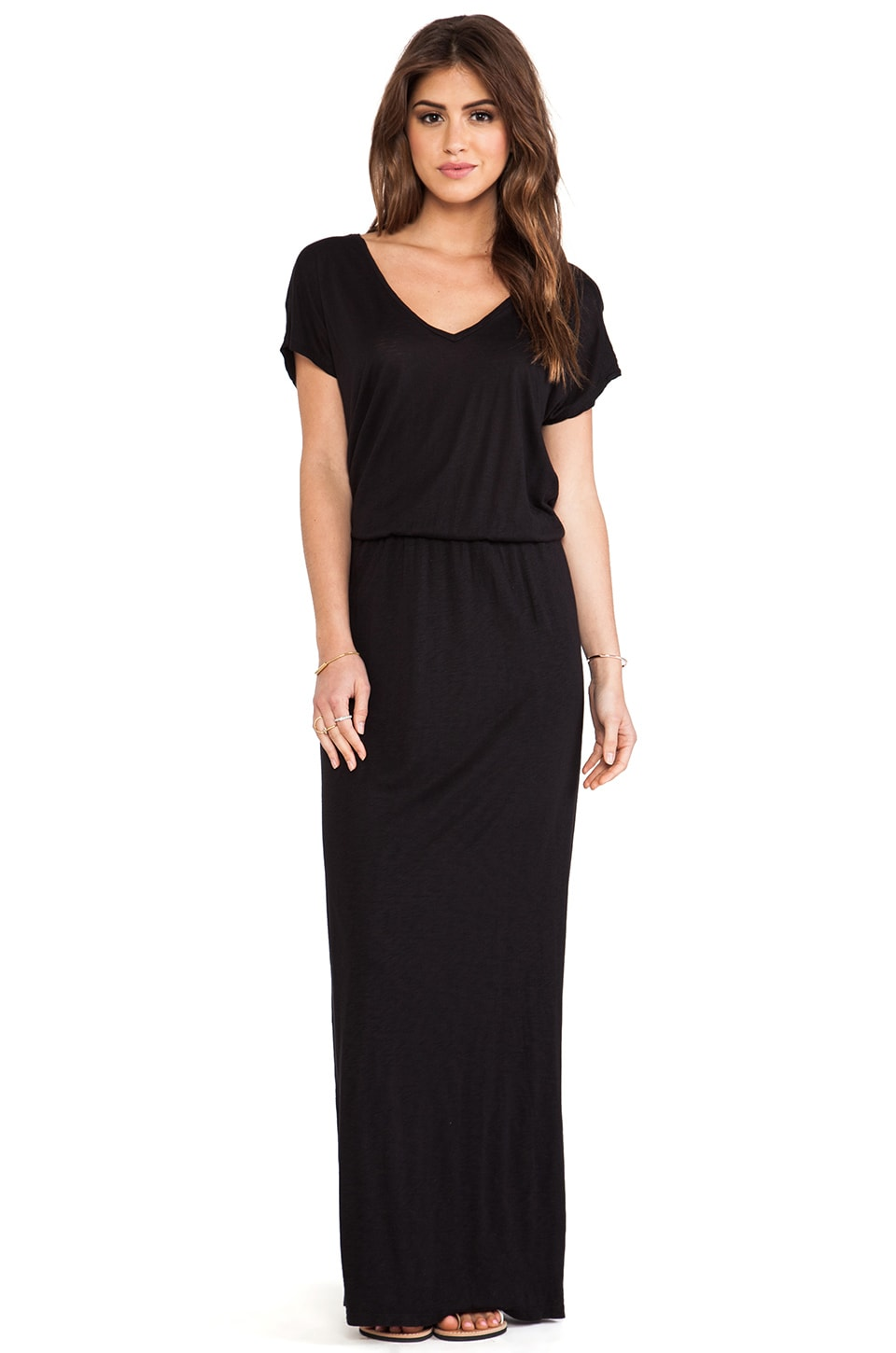 Velvet by Graham & Spencer Lizia Luxe Slub Maxi Dress in Black