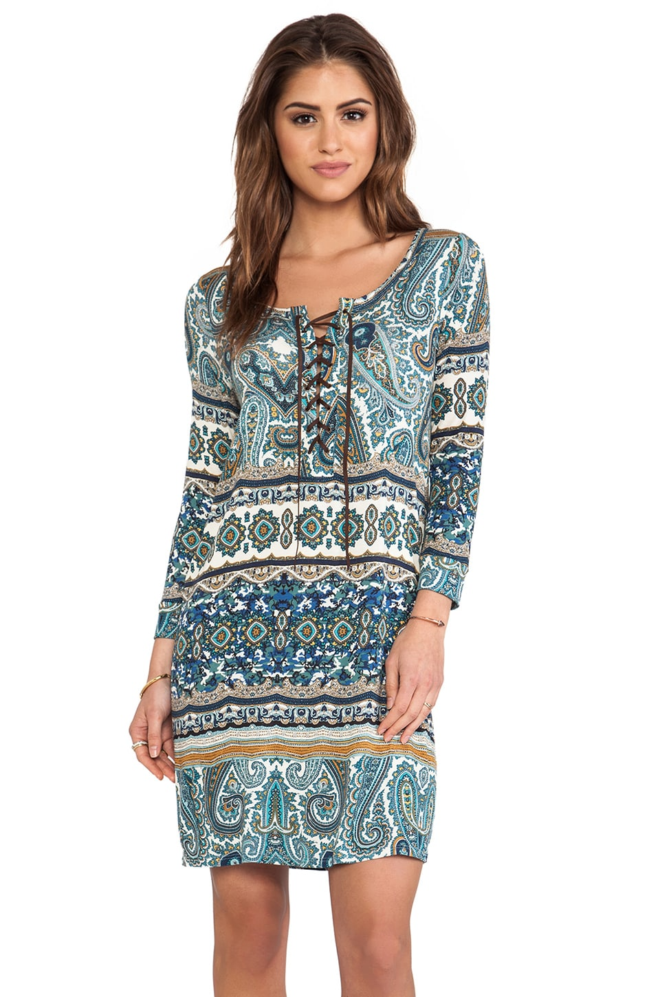 Velvet by Graham & Spencer Posy Taj Print Dress in Nightfall