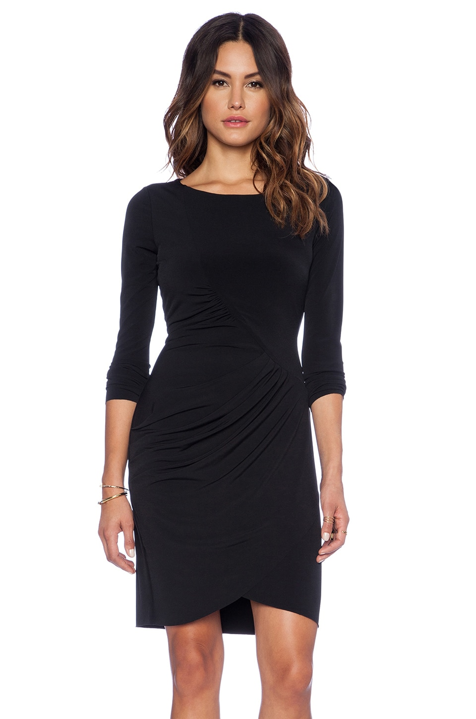 Velvet by Graham & Spencer Dove Stretch Jersey with Lace Dress in Black