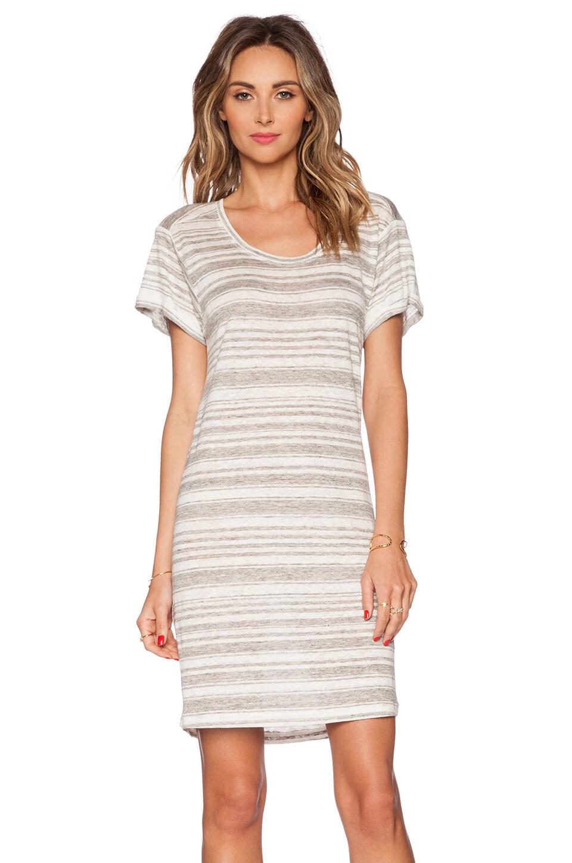 Velvet by Graham & Spencer Heather Stripe Linen Vika Dress in Heather Grey