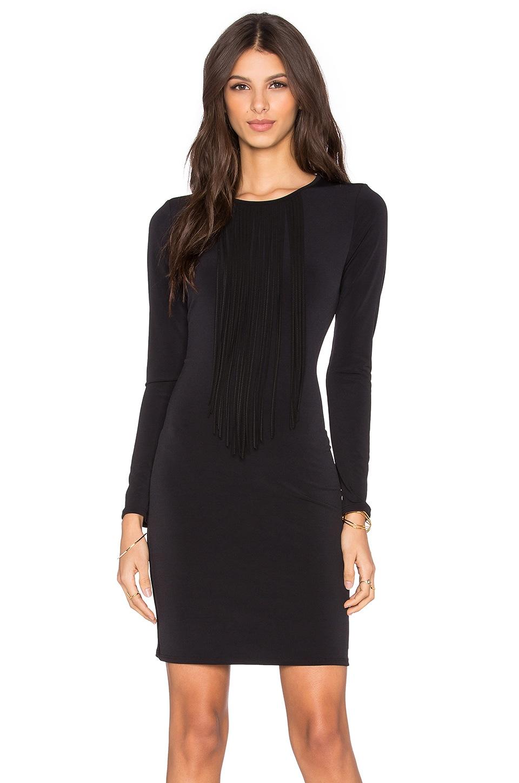 Velvet by Graham & Spencer Violet Stretch Jersey Fringe Front Dress in Black