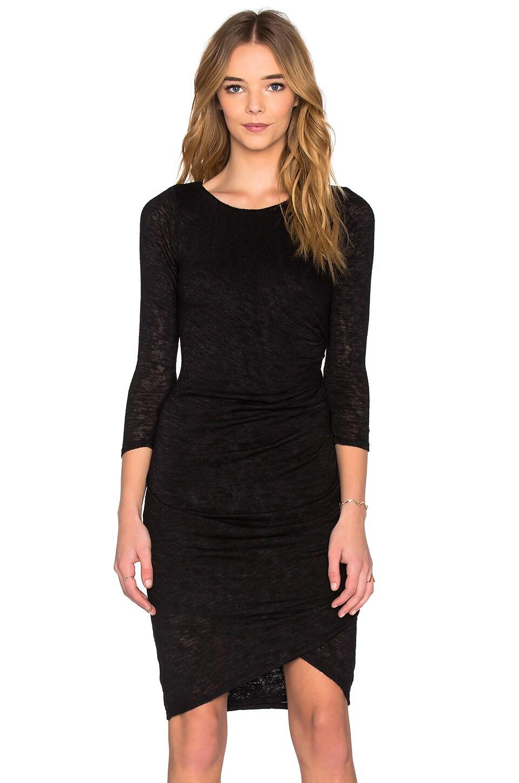 Velvet by Graham & Spencer Frayda Textured Knit 3/4 Sleeve Dress in Black