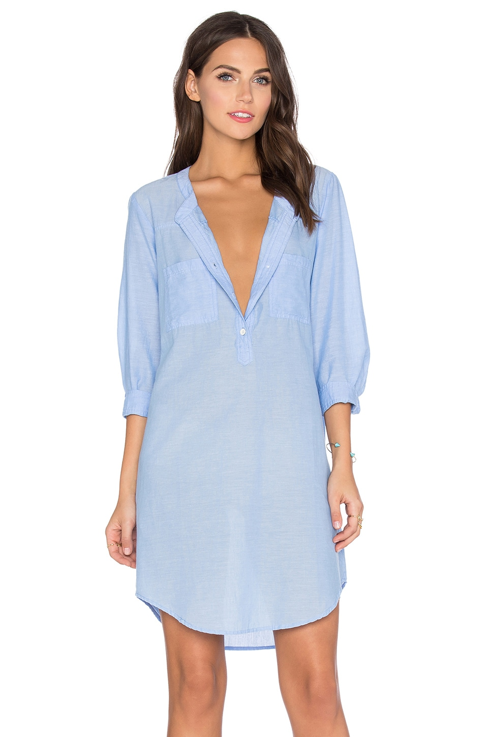 Velvet by Graham & Spencer Doma Cotton Chambray Shift Dress in Chambray
