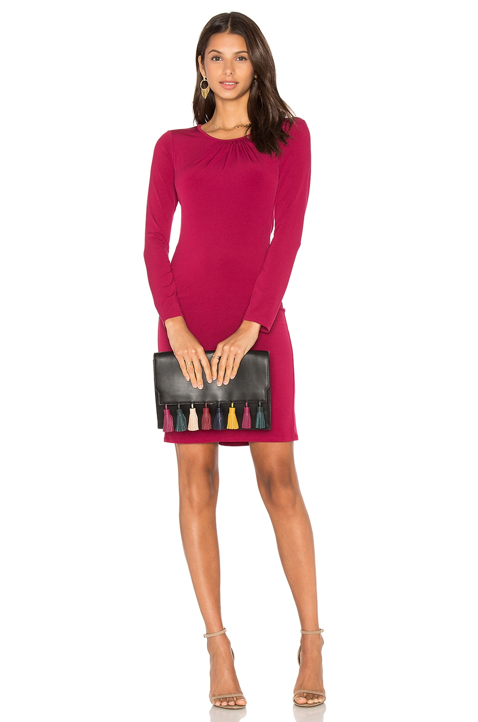 Velvet by Graham & Spencer Hester Long Sleeve Bodycon Dress in Burgundy