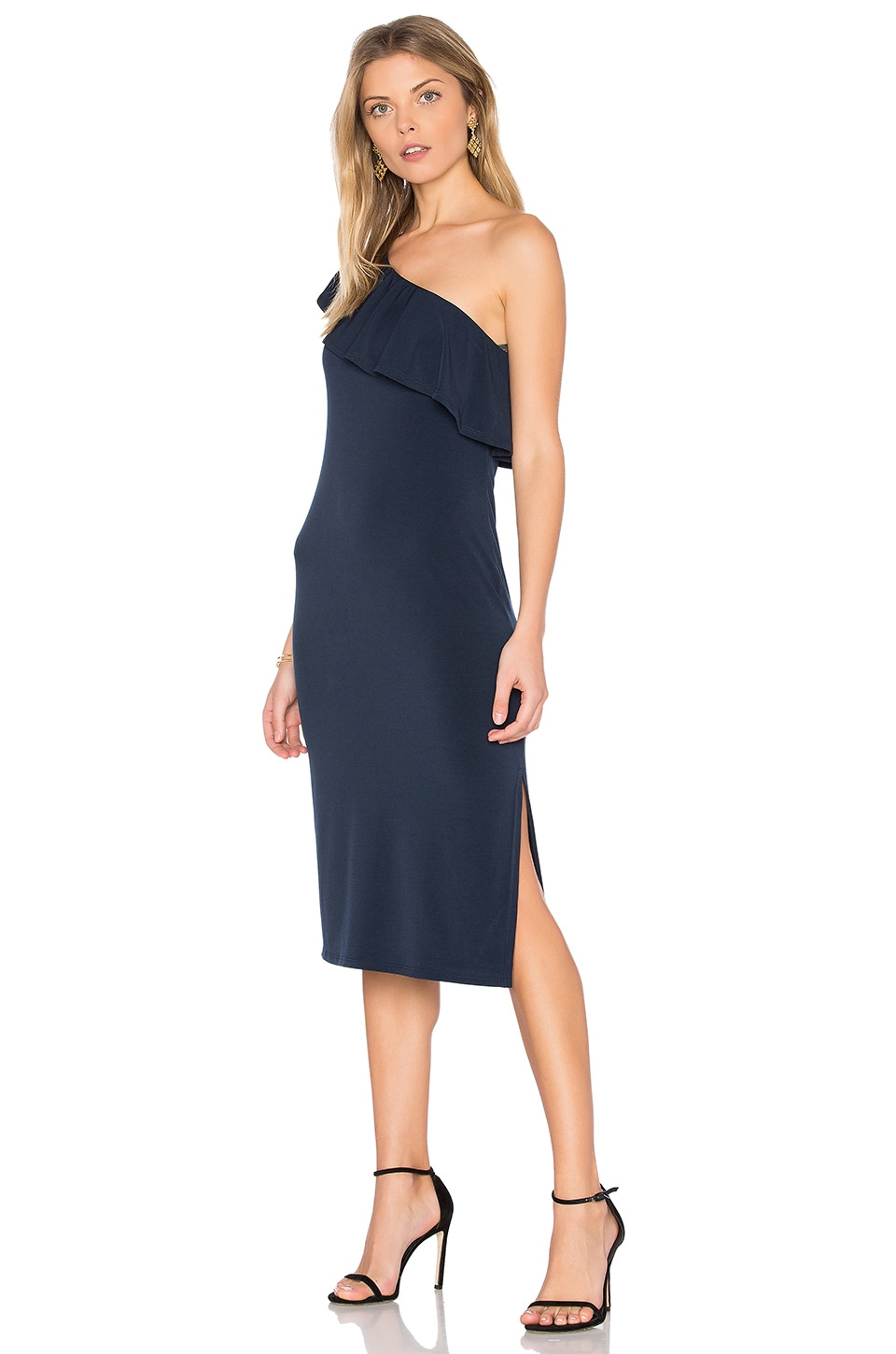 Velvet by Graham & Spencer Esperanza One Shoulder Dress in Ink