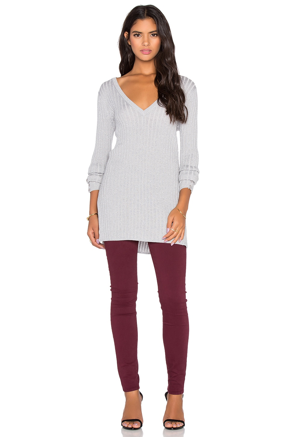 Velvet by Graham & Spencer Couture Lurex Cashmere Blend Rib V-Neck Sweater in Platinum