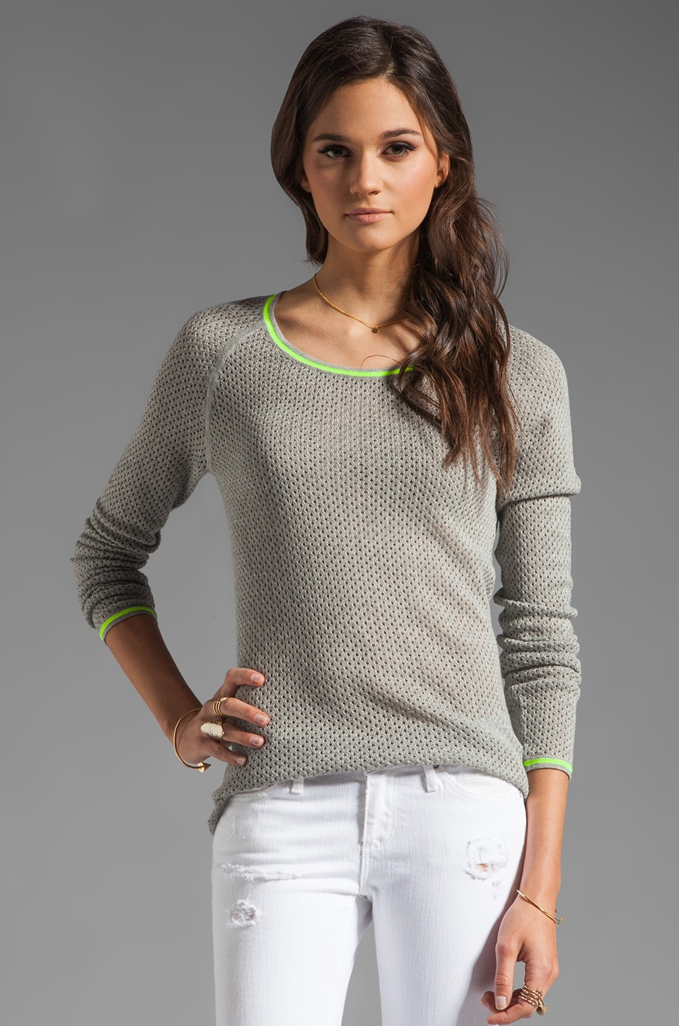 Velvet by Graham & Spencer Mesh Skyler Sweater in Heather Grey