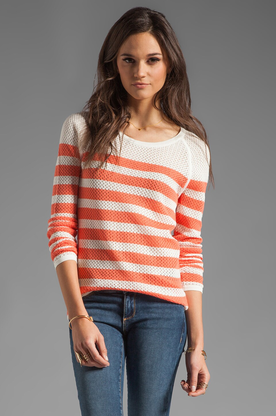 Velvet by Graham & Spencer Mesh Stripe Yurel Sweater in Starfish/Milk
