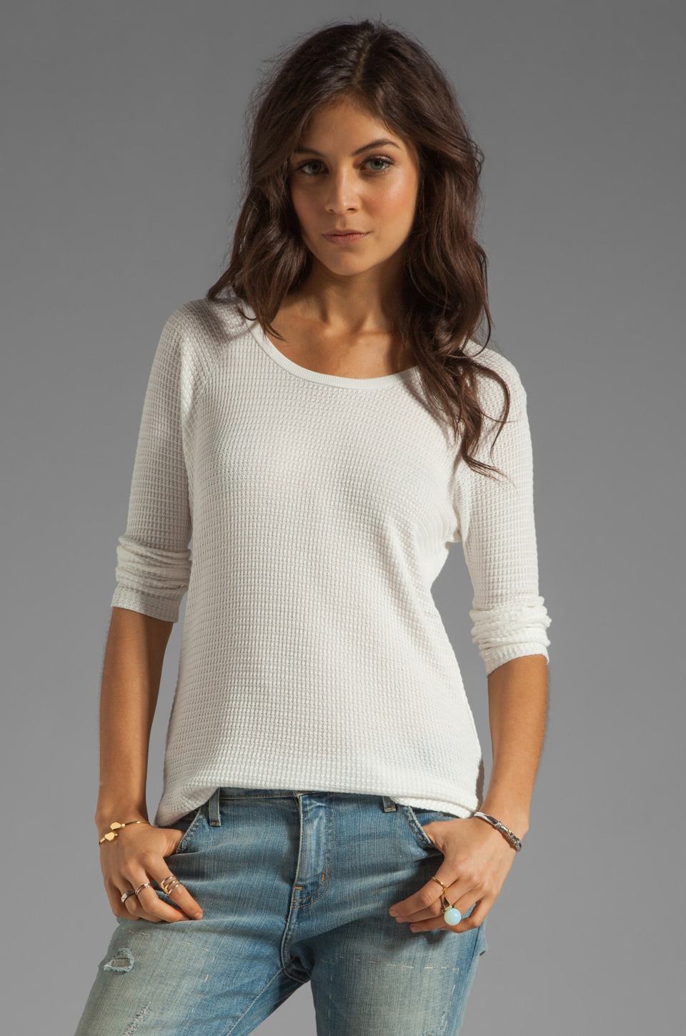 Velvet by Graham & Spencer Harriet Textured Knit Sweater in White