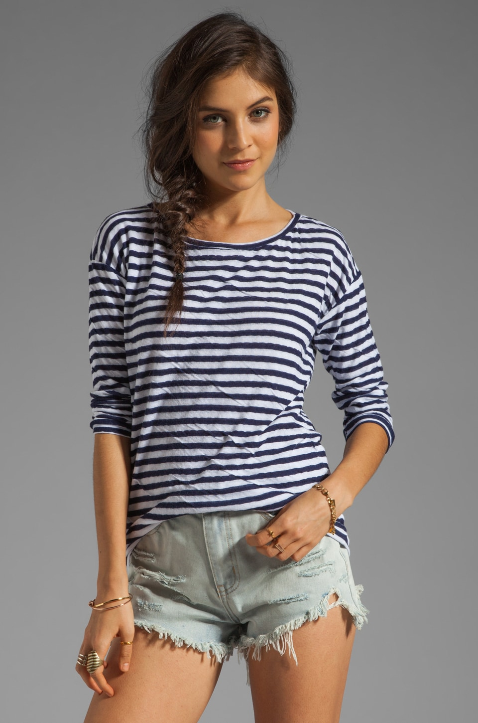Velvet by Graham & Spencer x Lily Aldridge Pearl Stripe Sweater in Navy/White