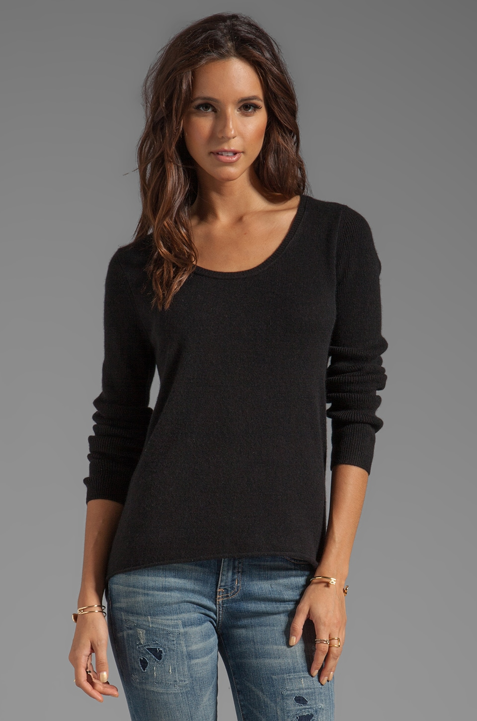 Velvet by Graham & Spencer Glitzy Cashmere Classics Loose Long Sleeve in Black