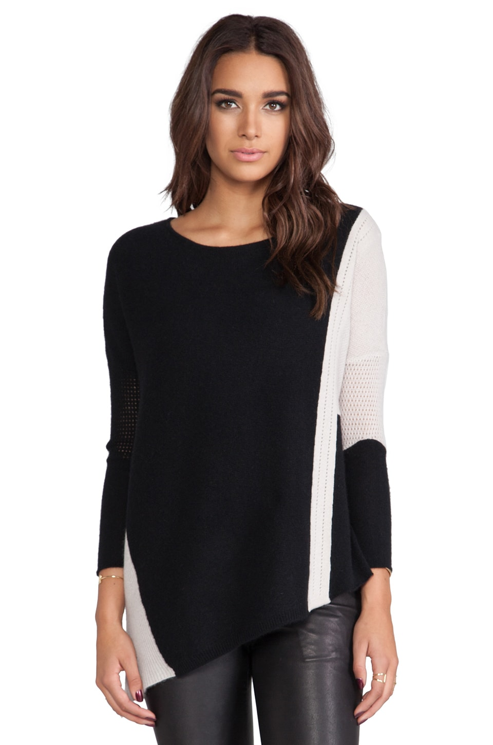 Velvet by Graham & Spencer Pauline Cashmere Classics Loose Long Sleeve w/ Asymmetrical Hem in Black/ Petal