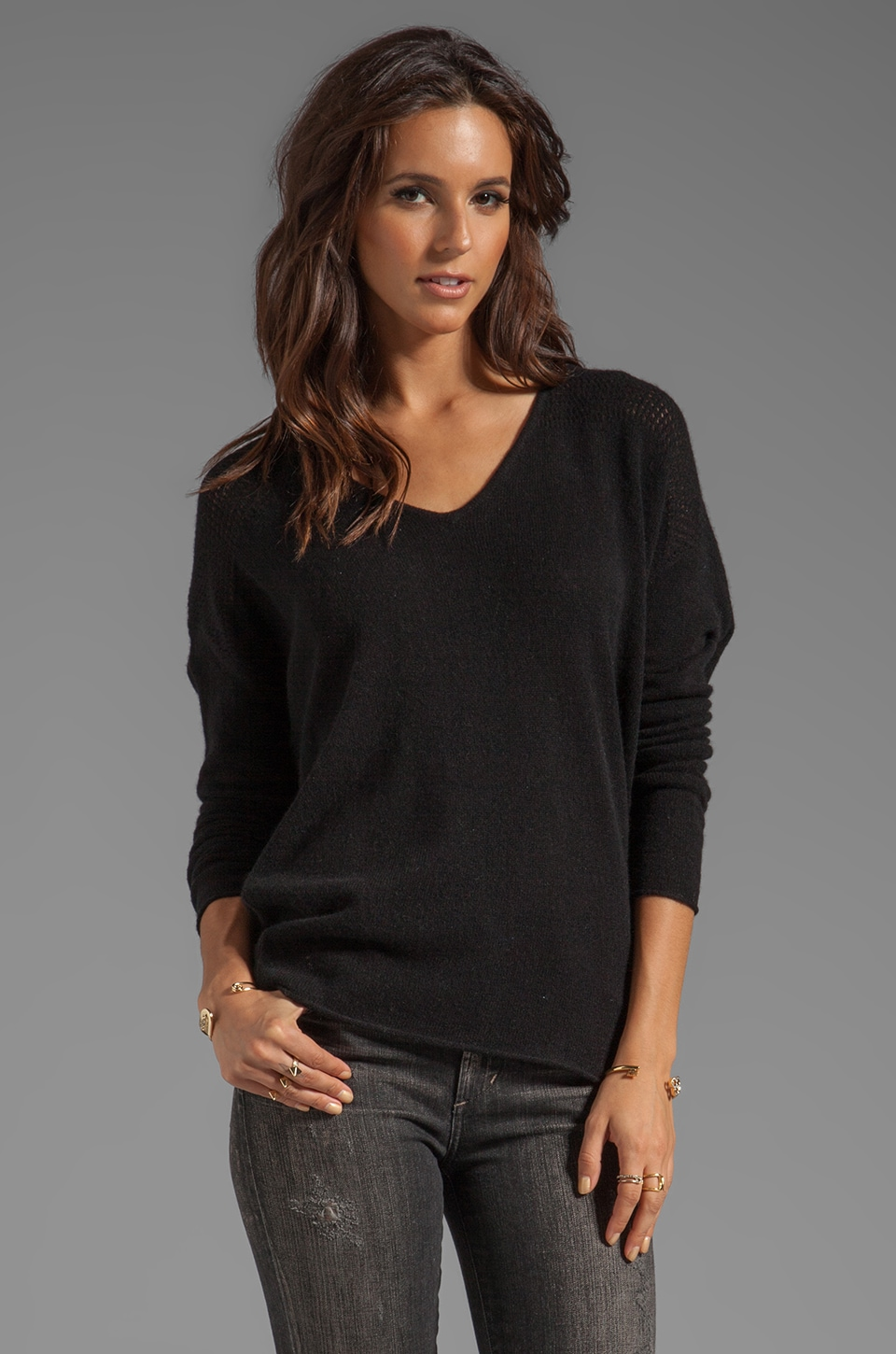 Velvet by Graham & Spencer Clare Cashmere Classic Long Sleeve V-Neck in Black