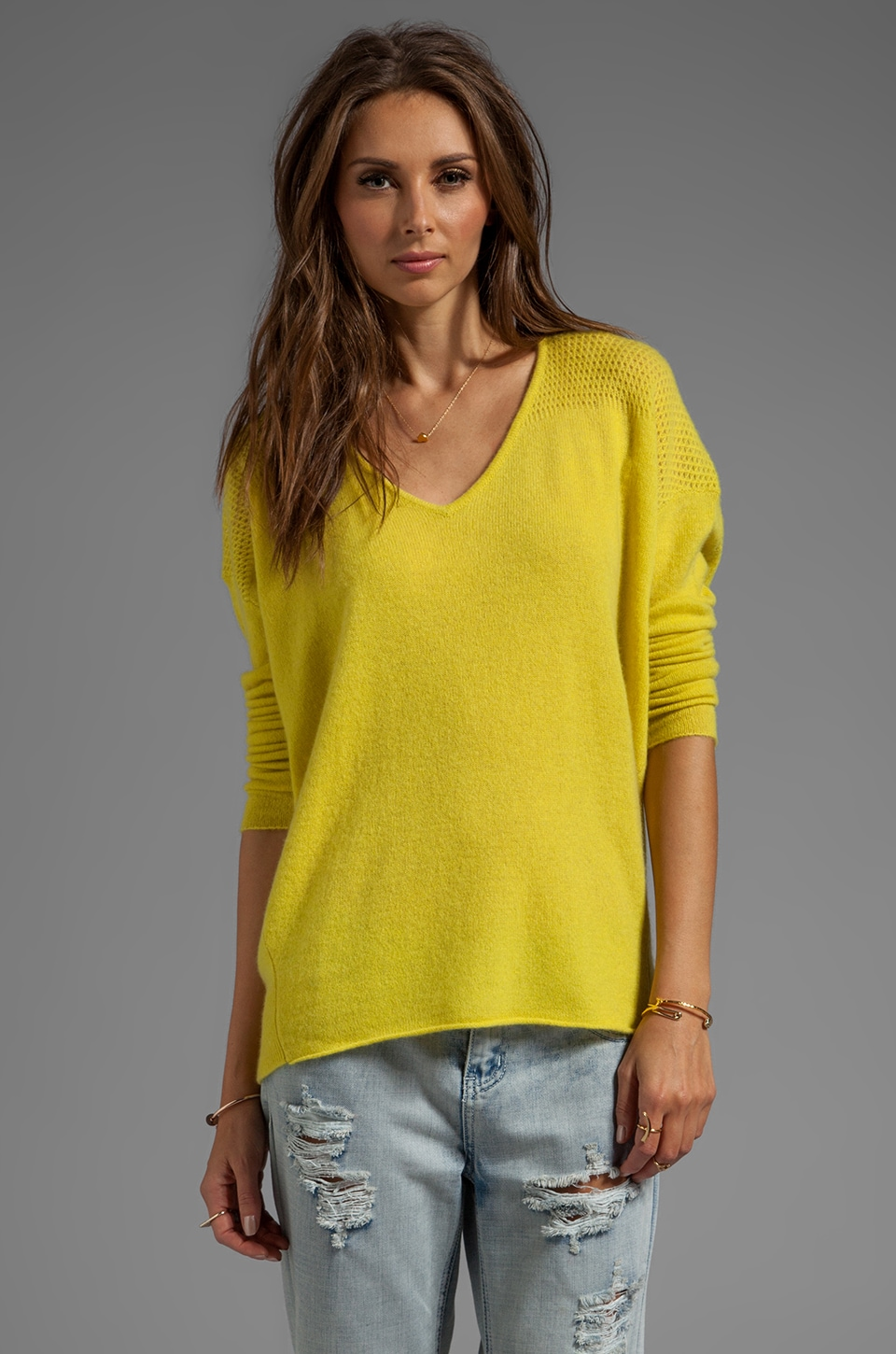 Velvet by Graham & Spencer Clare Cashmere Classic Long Sleeve V-Neck in Canary