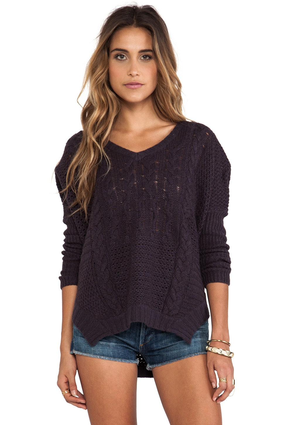 Velvet by Graham & Spencer Nadya Patchwork Cable Loose V-Neck Sweater in Aubergine