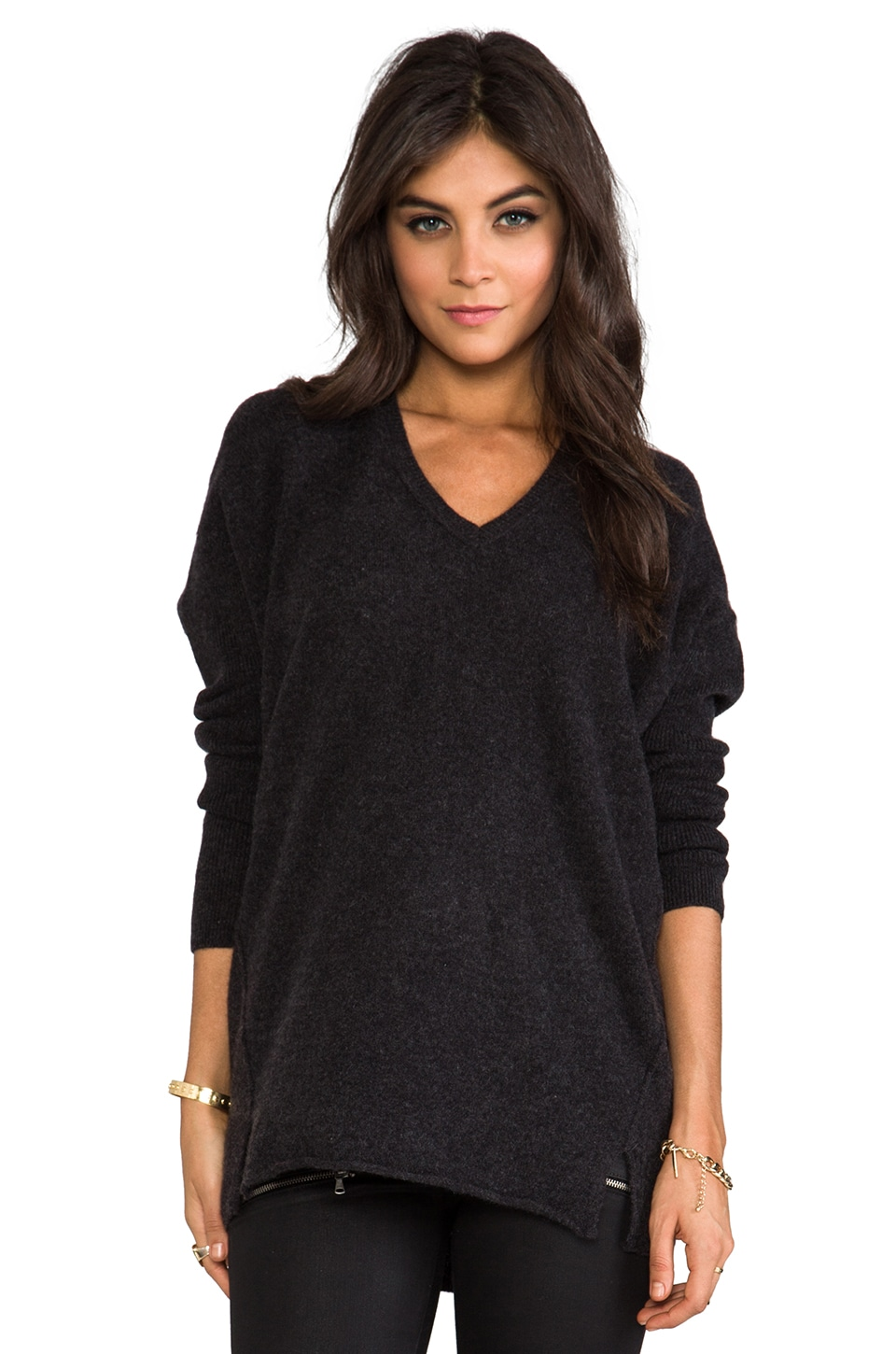 Velvet by Graham & Spencer Velvet Chrissa Cashmere Sweater in Charcoal