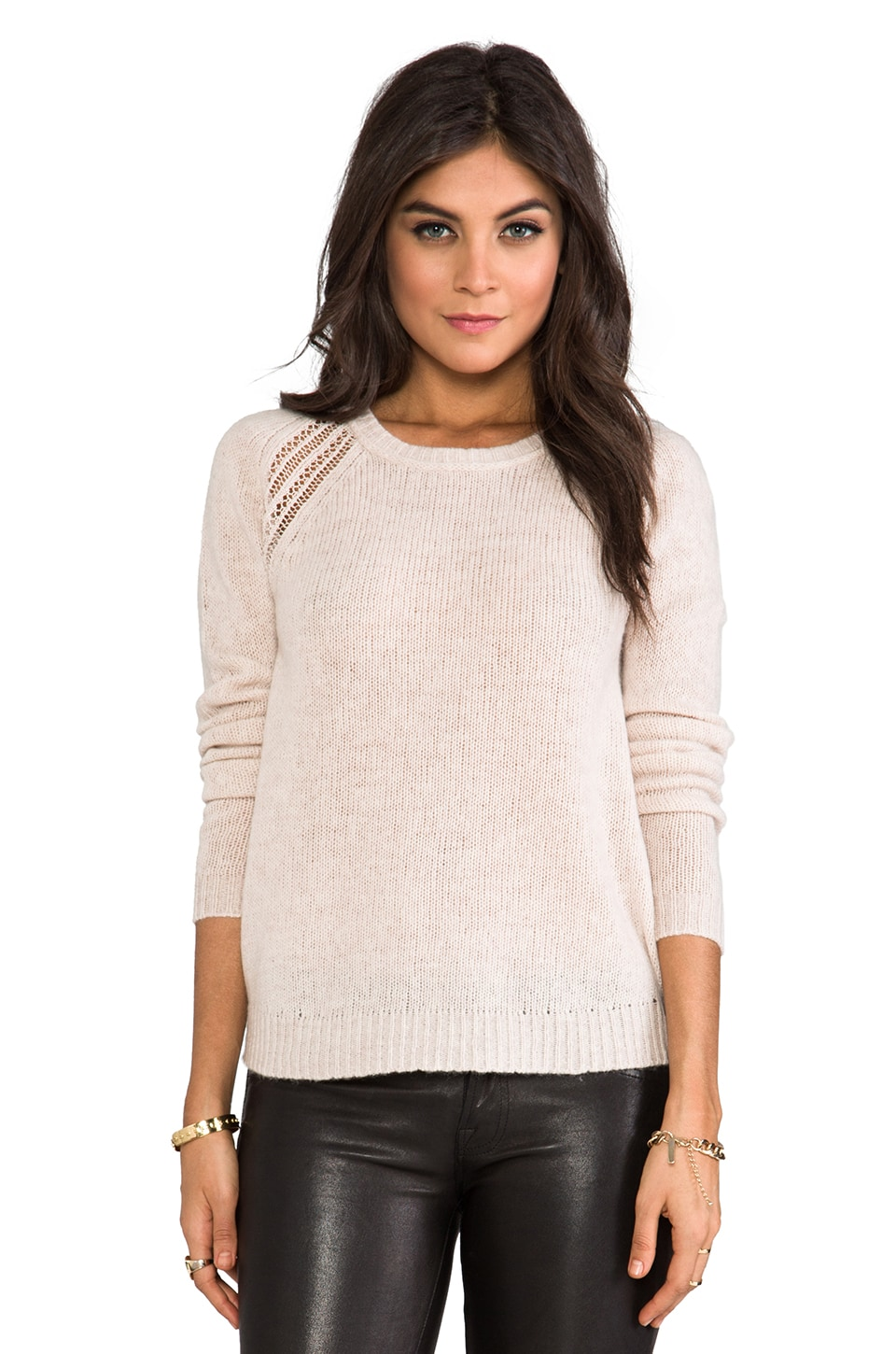 Velvet by Graham & Spencer Velvet Helia Cashmere Blend Sweater in Wheat