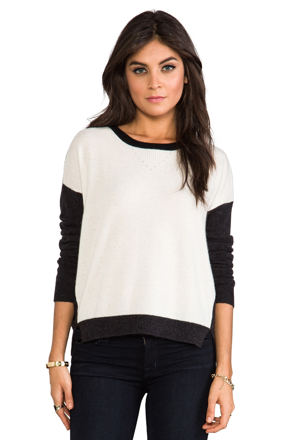 Velvet by Graham & Spencer Velvet Jamila Cashmere Sweater in Milk & Charcoal