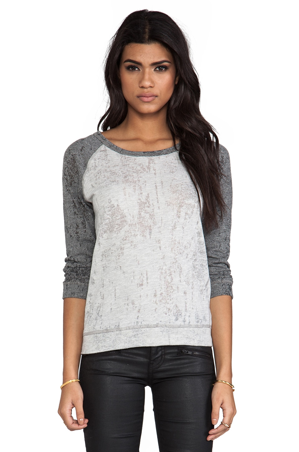 Velvet by Graham & Spencer Velvet Burnout Bobbie Knit in Heather Grey
