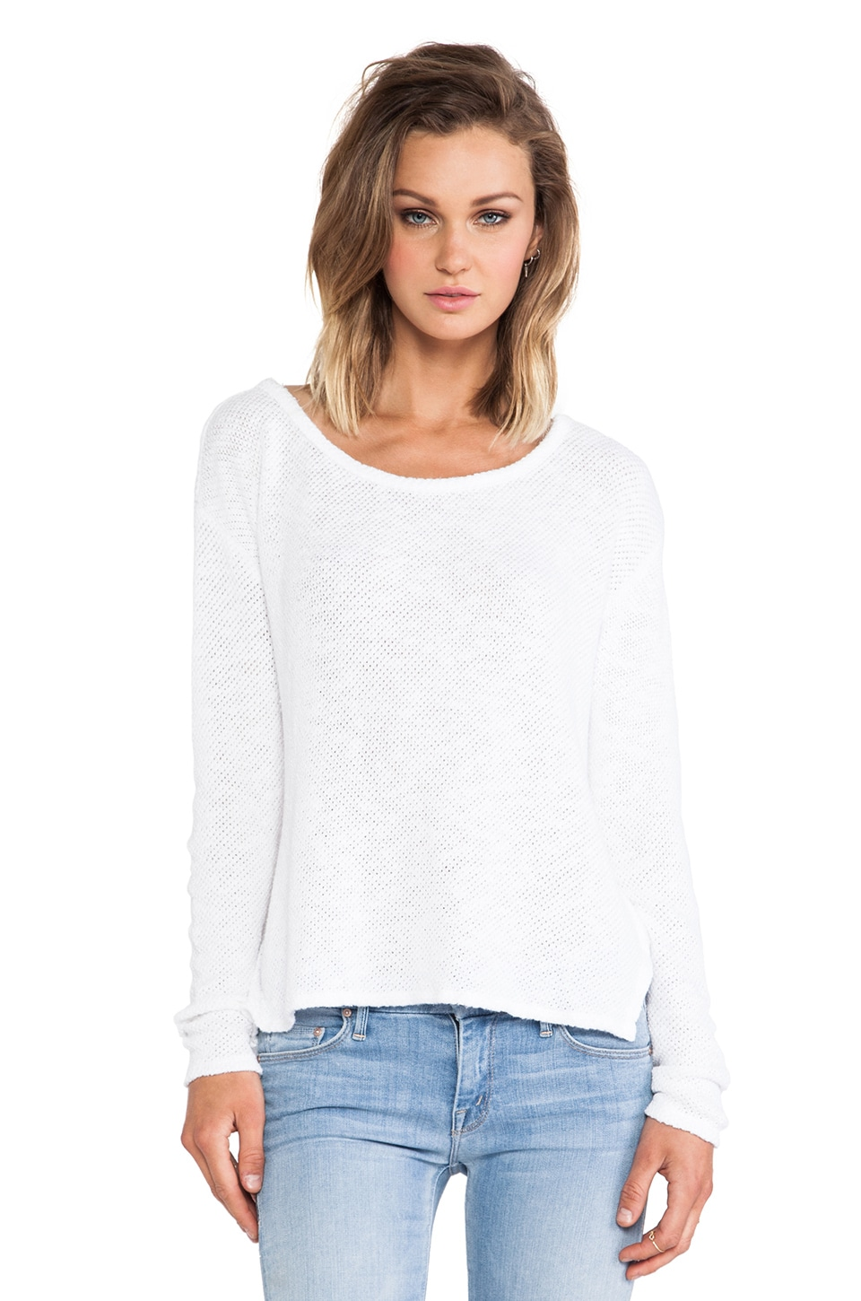 Velvet by Graham & Spencer Peta Cotton Crochet Sweater in White