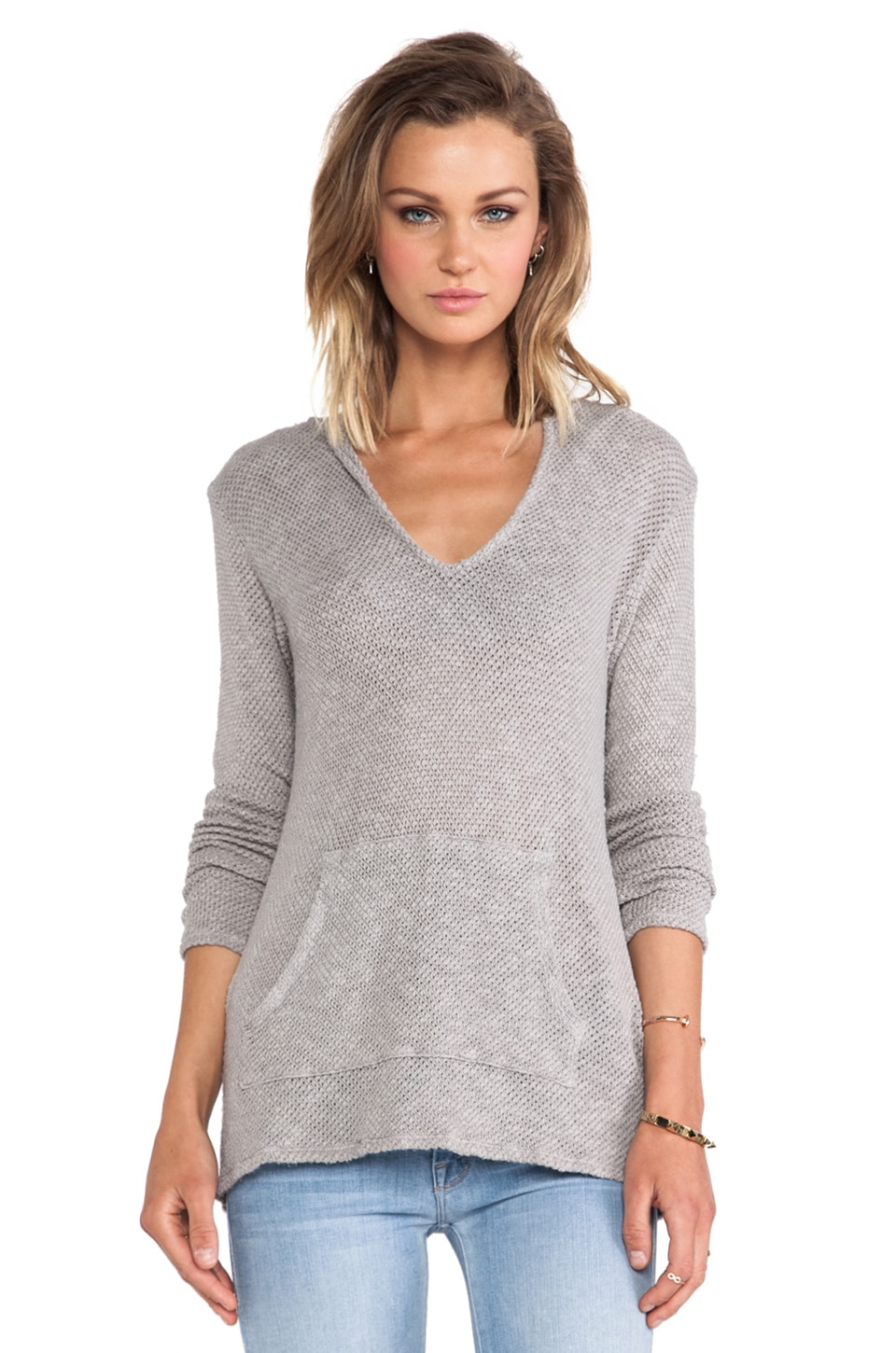 Velvet by Graham & Spencer Risanna Cotton Crochet Hooded Sweater in Moonhaze