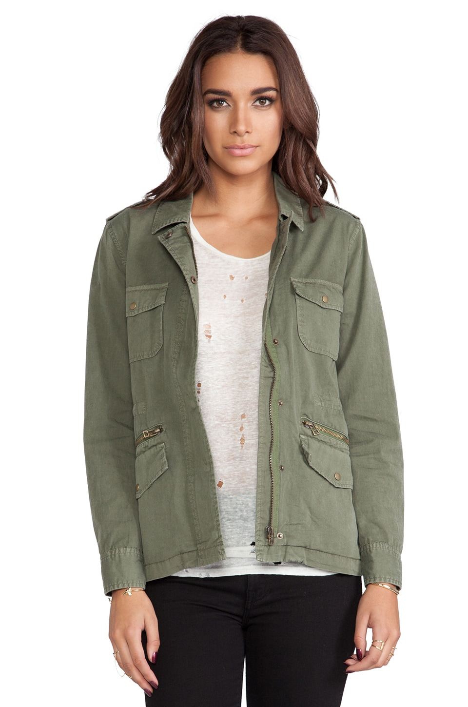 Velvet by Graham & Spencer x Lily Aldridge Ruby Army Jacket in Forest