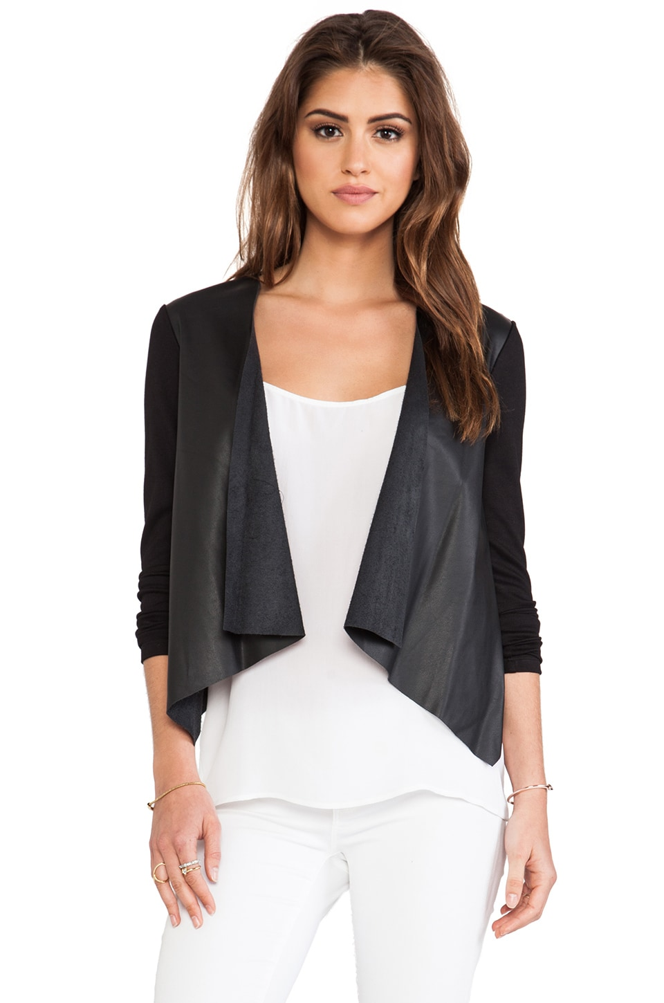 Velvet by Graham & Spencer Purity Ponti w/ Faux Leather Jacket in Black/Black