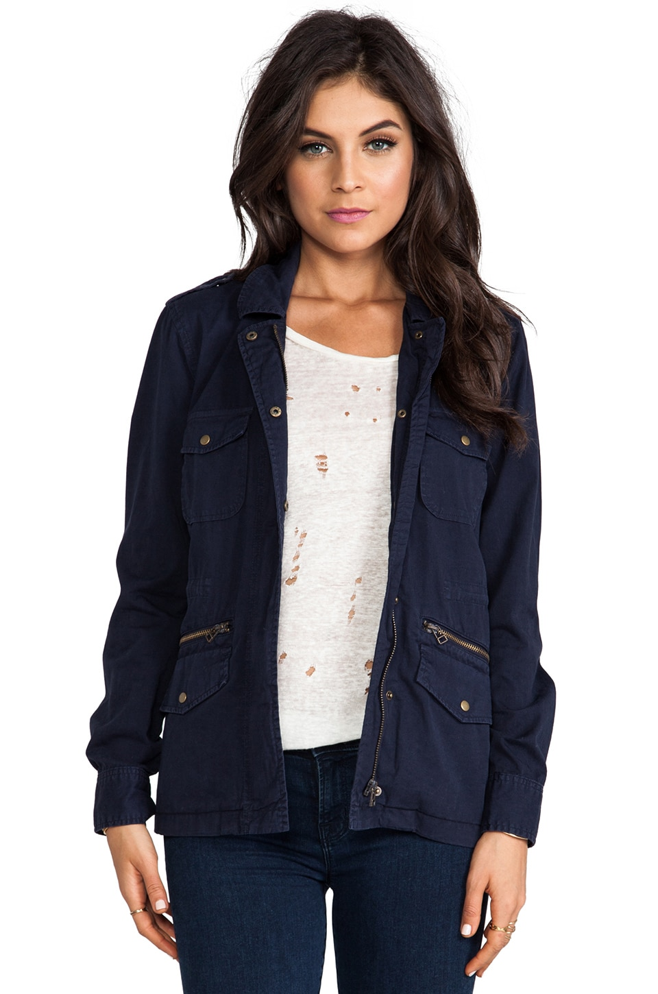 Velvet by Graham & Spencer x Lily Aldridge Ruby Army Jacket in Navy