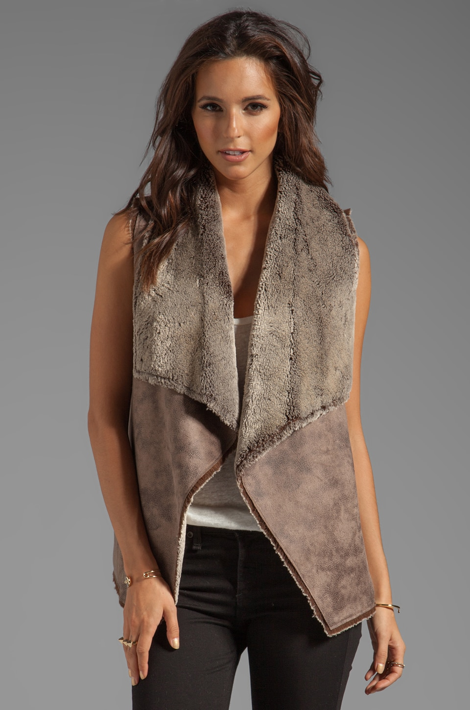 Velvet by Graham & Spencer Kitty Faux Sherpa Vest in Brown