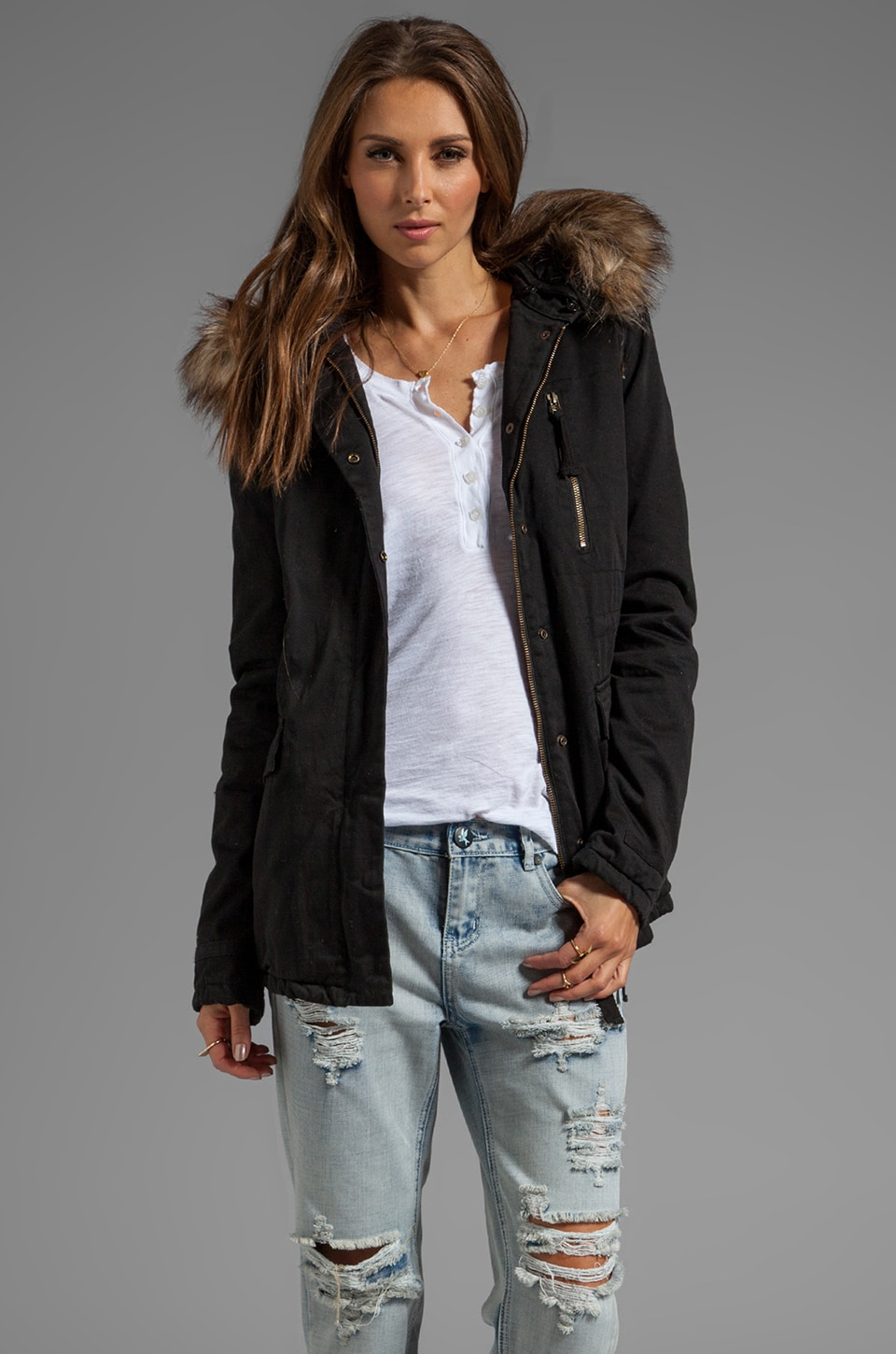 Velvet by Graham & Spencer Dorena Parka w/ Faux Fur in Black