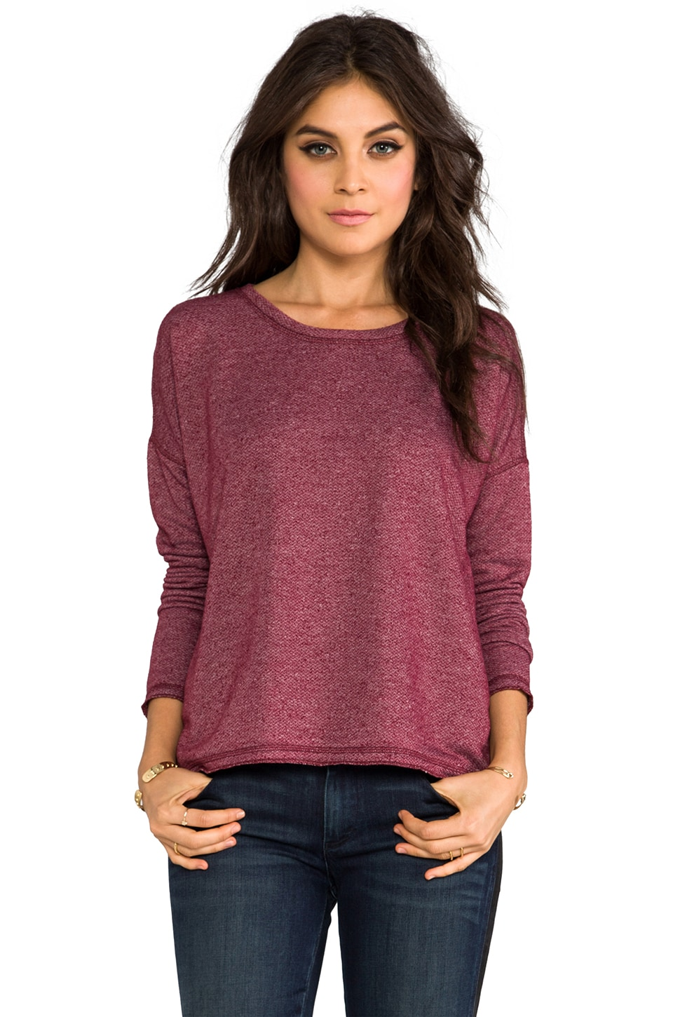 Velvet by Graham & Spencer Dottie Fleece Sweatshirt in Rhumba