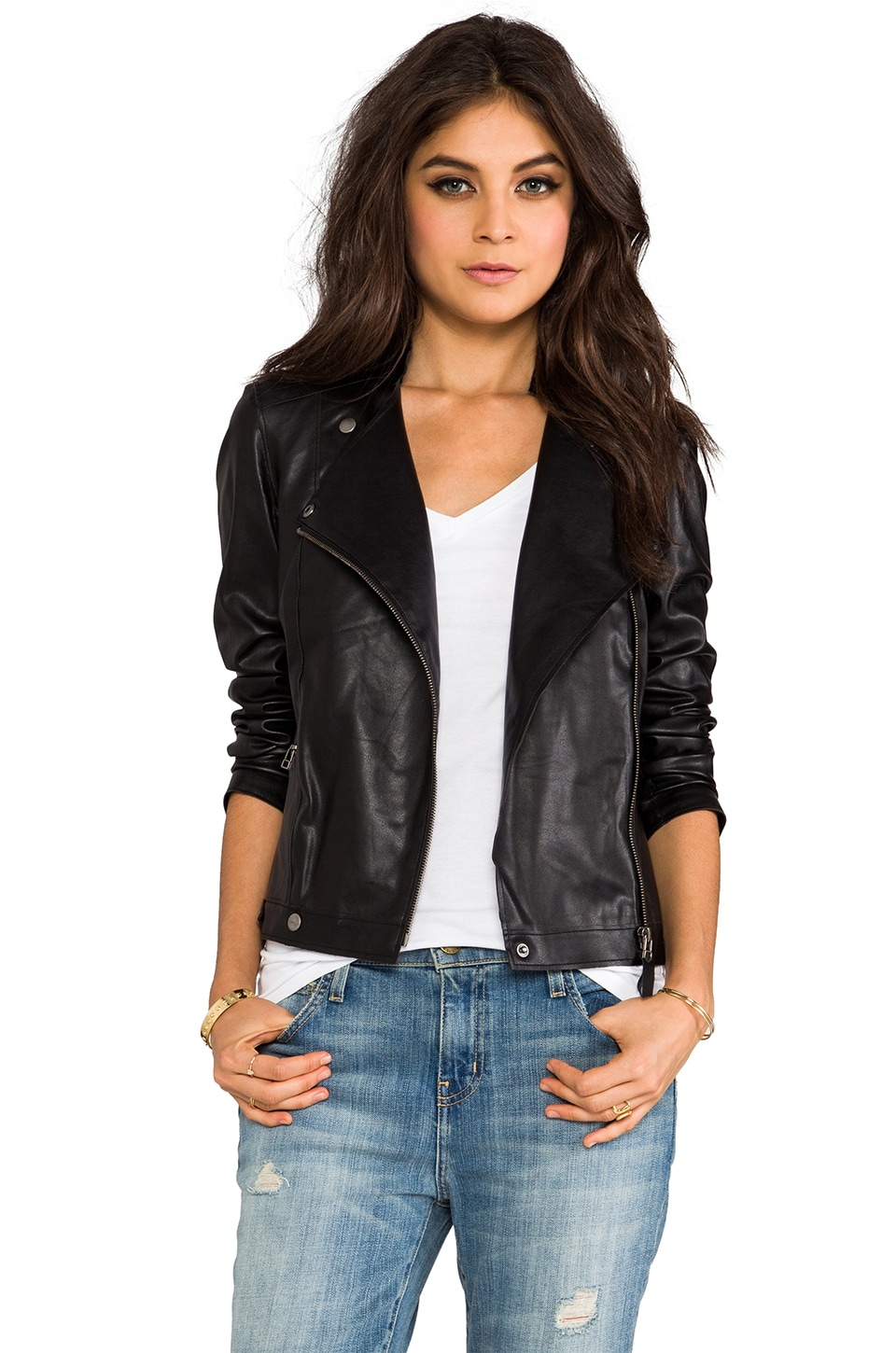 Velvet by Graham & Spencer Leona Motorcycle Jacket in Black
