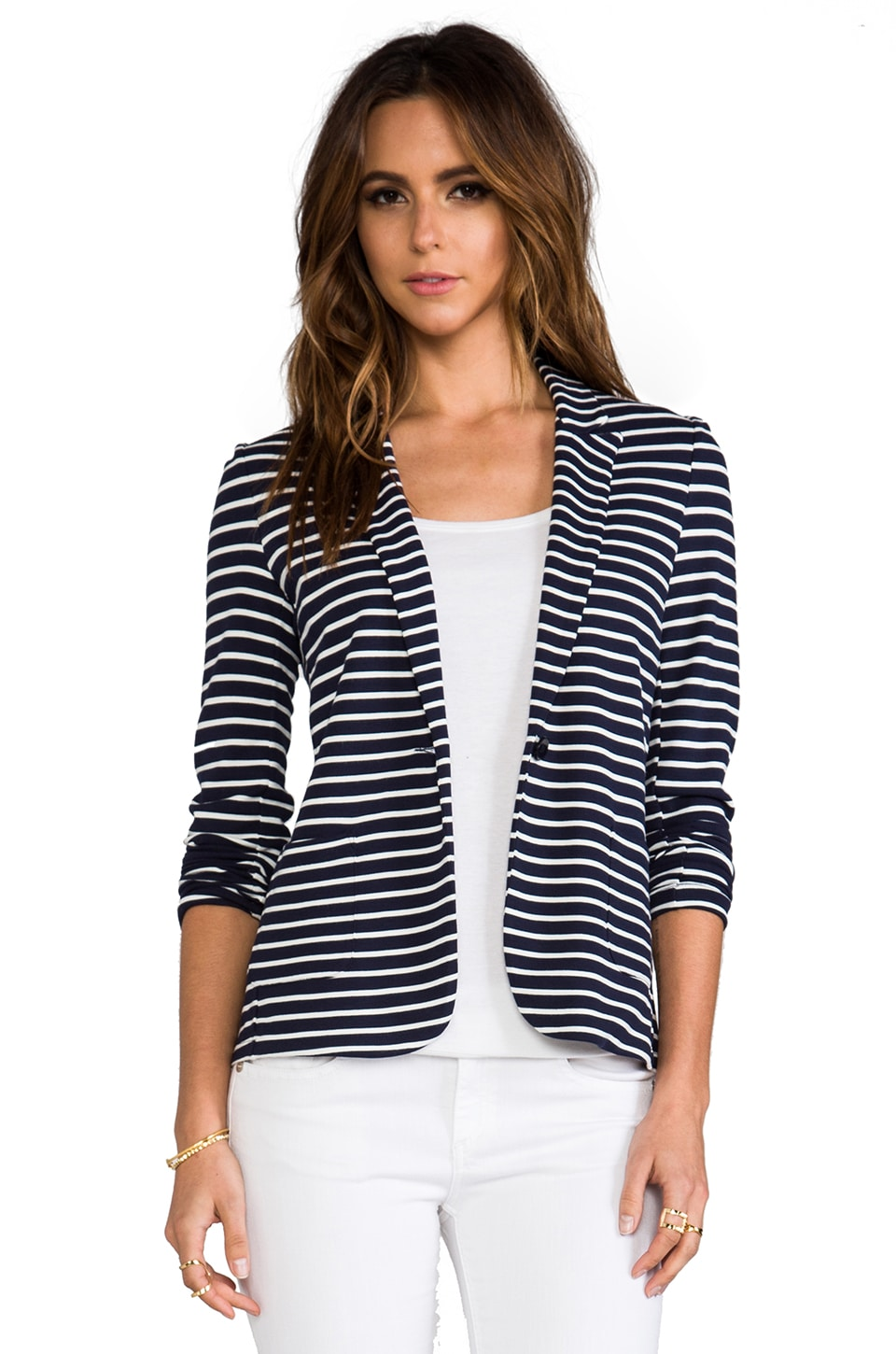 Velvet by Graham & Spencer Velvet Ponti Stripes Electra Blazer in navy