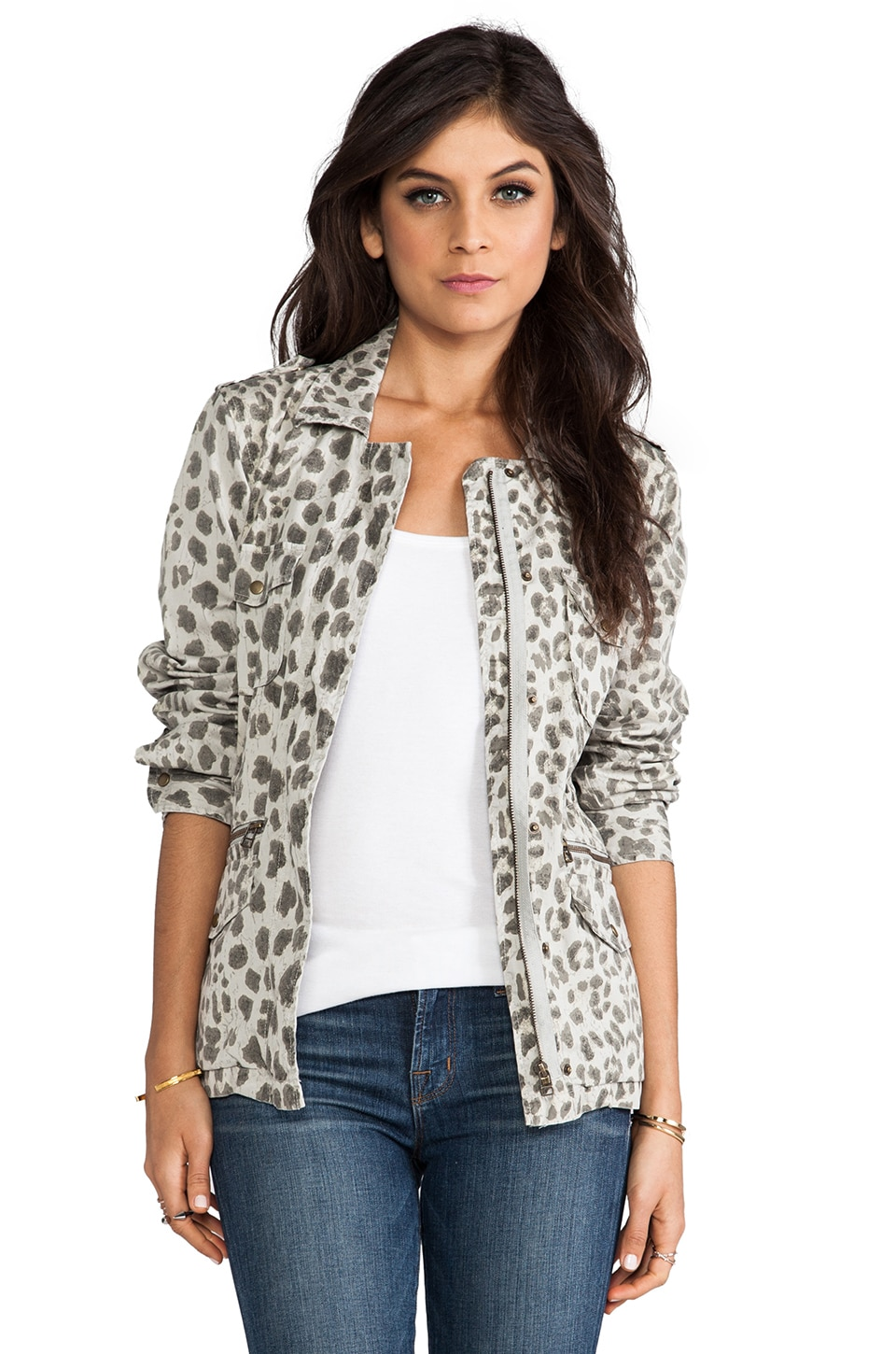 Velvet by Graham & Spencer Lily Aldridge for Velvet Aziya Leopard Army Jacket in Multi