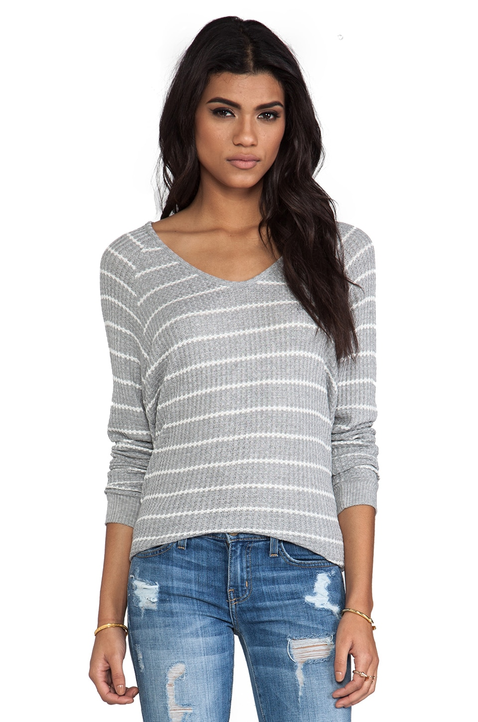 Velvet by Graham & Spencer Velvet Stripe Callie Thermal in Grey