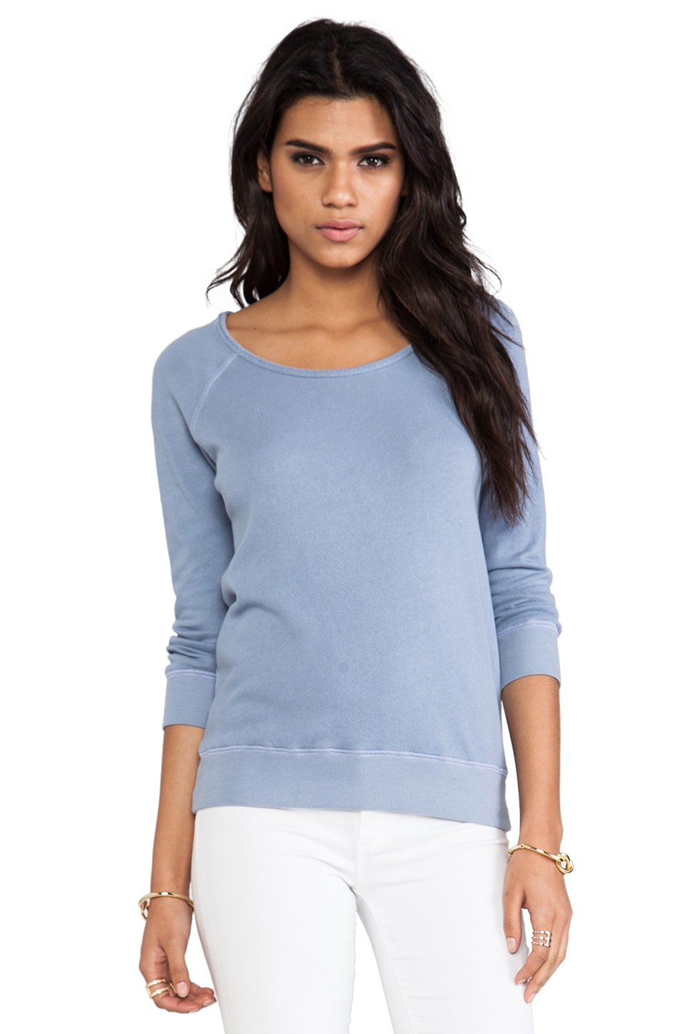 Velvet by Graham & Spencer Sharie Vintage French Terry Sweatshirt in Powder Blue