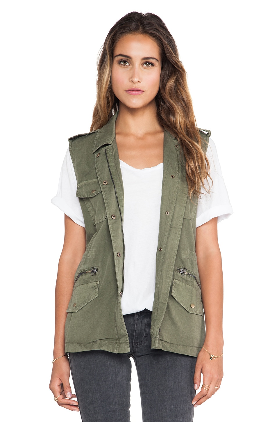 Velvet by Graham & Spencer Amesha Cotton Twill Vest in Forest