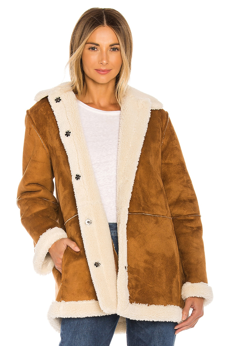 Velvet by Graham & Spencer Kailani Faux Suede Sherpa Coat in Cigar