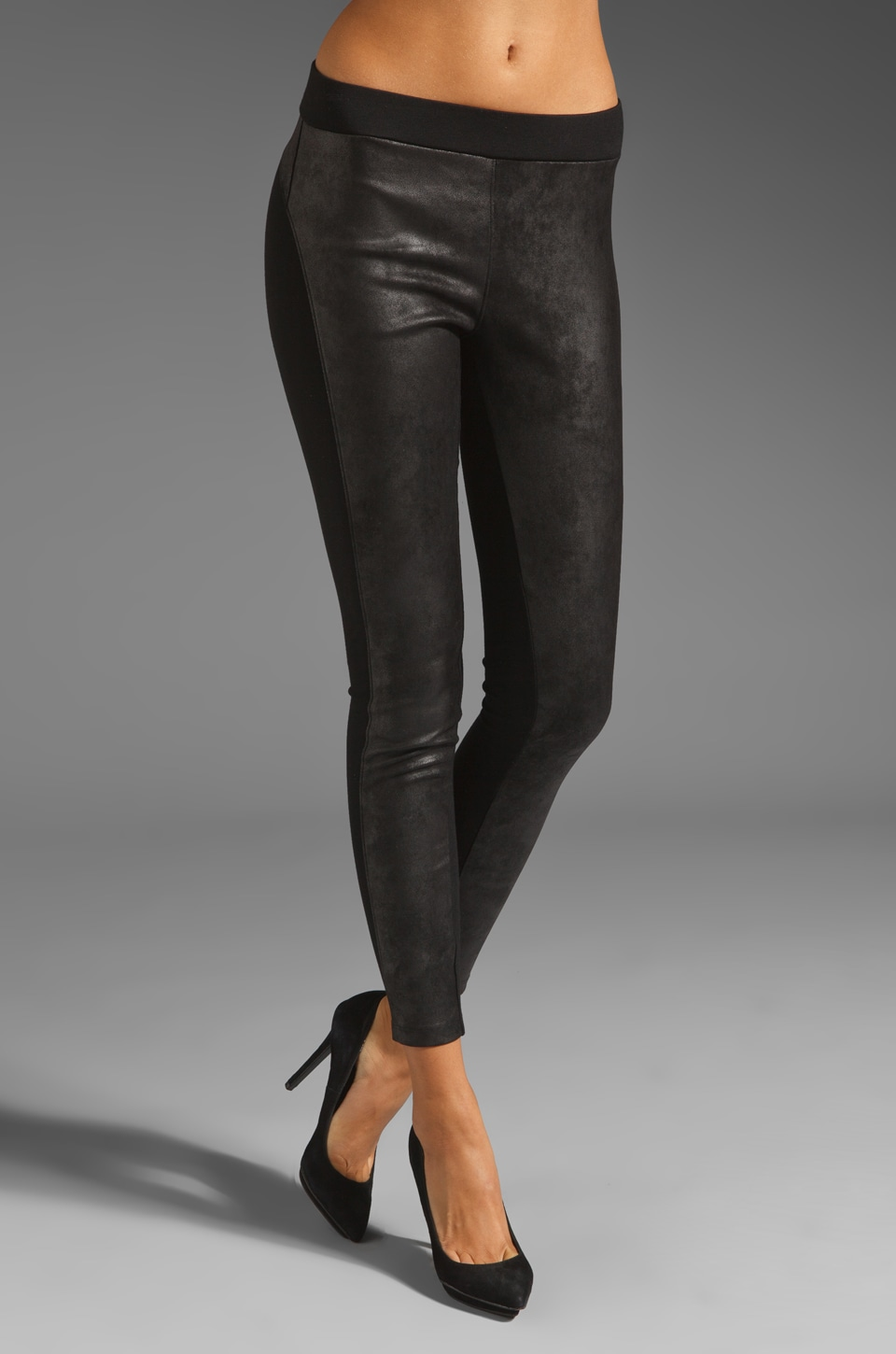 Velvet by Graham & Spencer Ponti with Faux Leather Holly Pant in Black