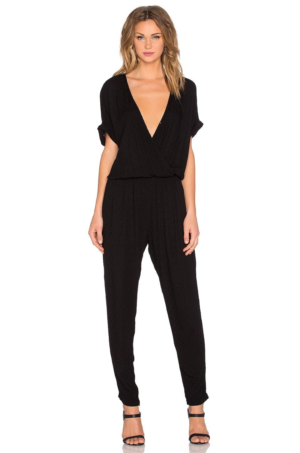 Velvet by Graham & Spencer Chandelle Damask Rayon Short Sleeve Cross Front Jumpsuit in Black