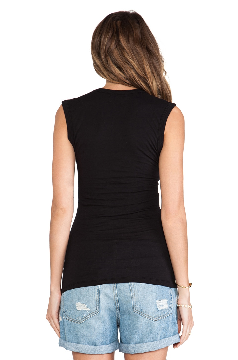 Velvet by Graham & Spencer Gauzy Whisper Classics Estina Scoop Neck Tank in Black